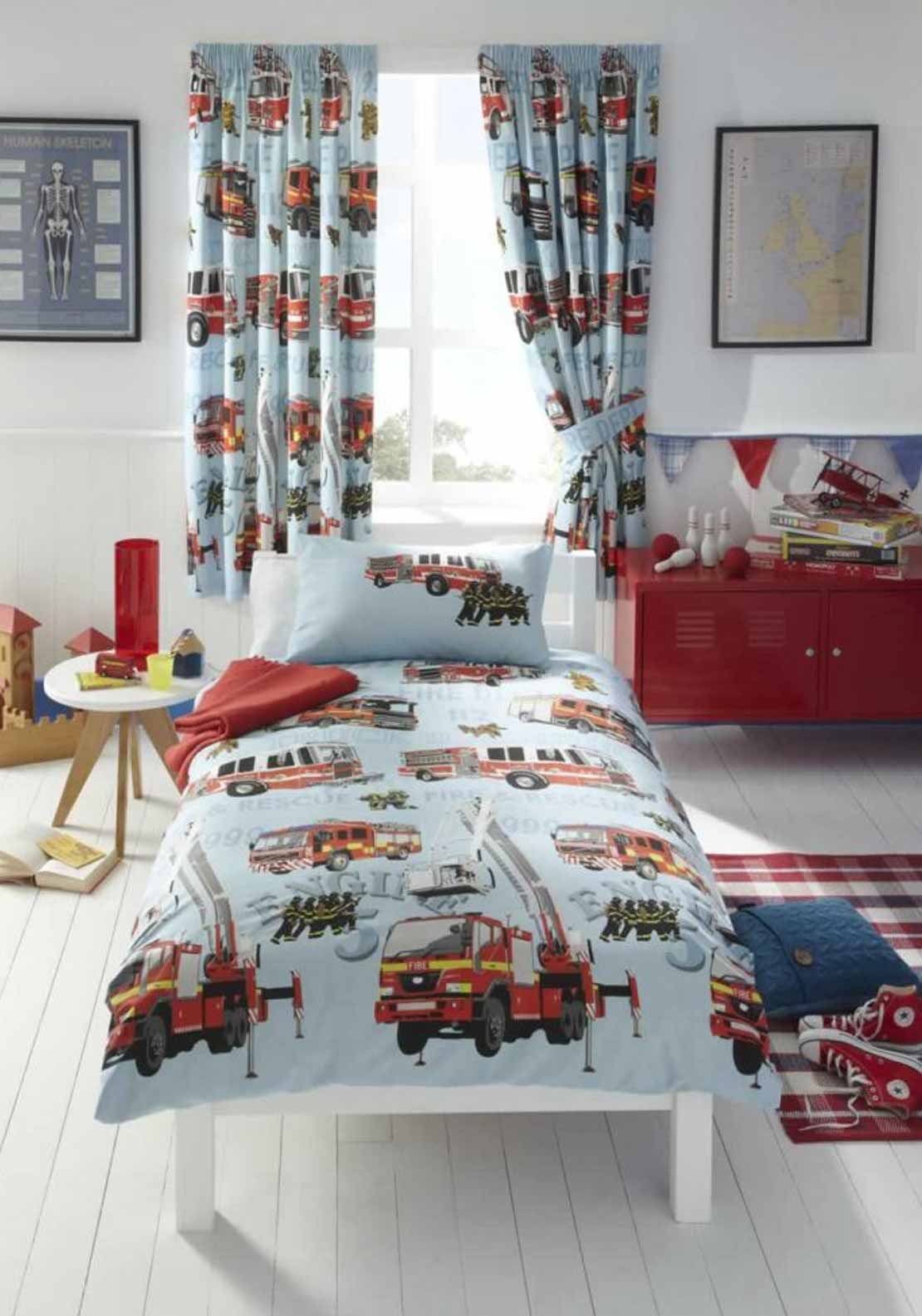 Kids Club Fire Engine Pencil Pleat Lined Curtains