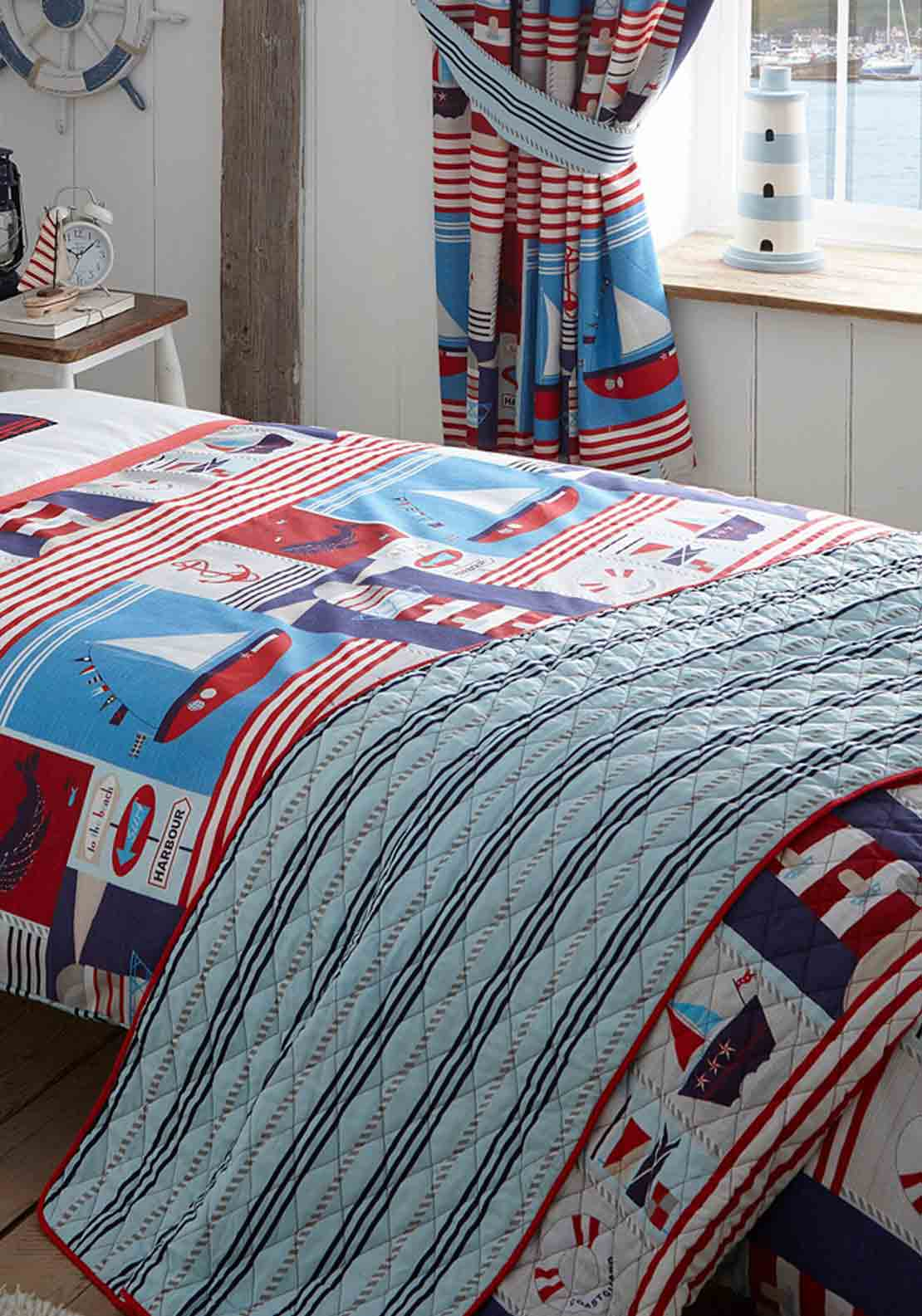 Kids Club Maritime Quilted Throw Over 150 X 200cms