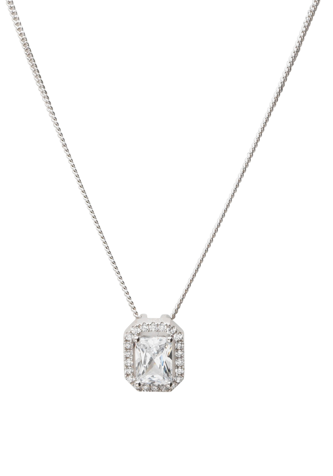 Killarney Crystal Sterling Silver Finesse Square Pendant