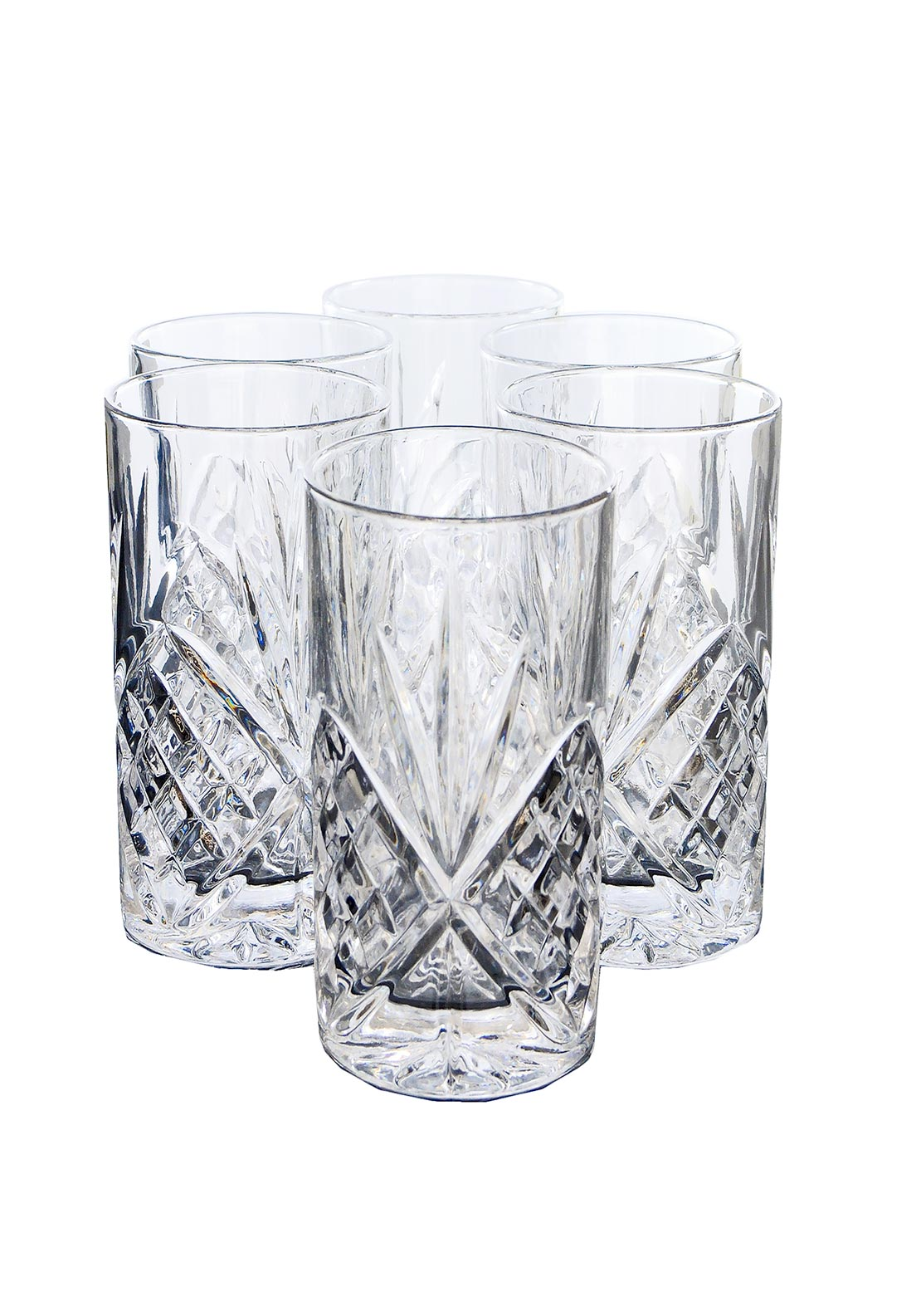Killarney Crystal Ireland Derrnane Hi Ball Glasses, Set of 6