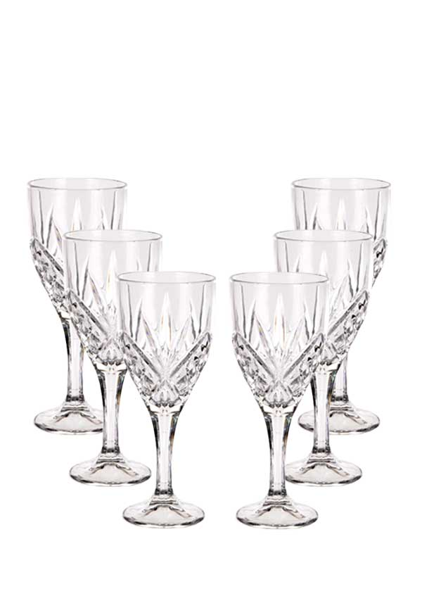 Killarney Crystal Derrynane Wine Glasses, Set of 6