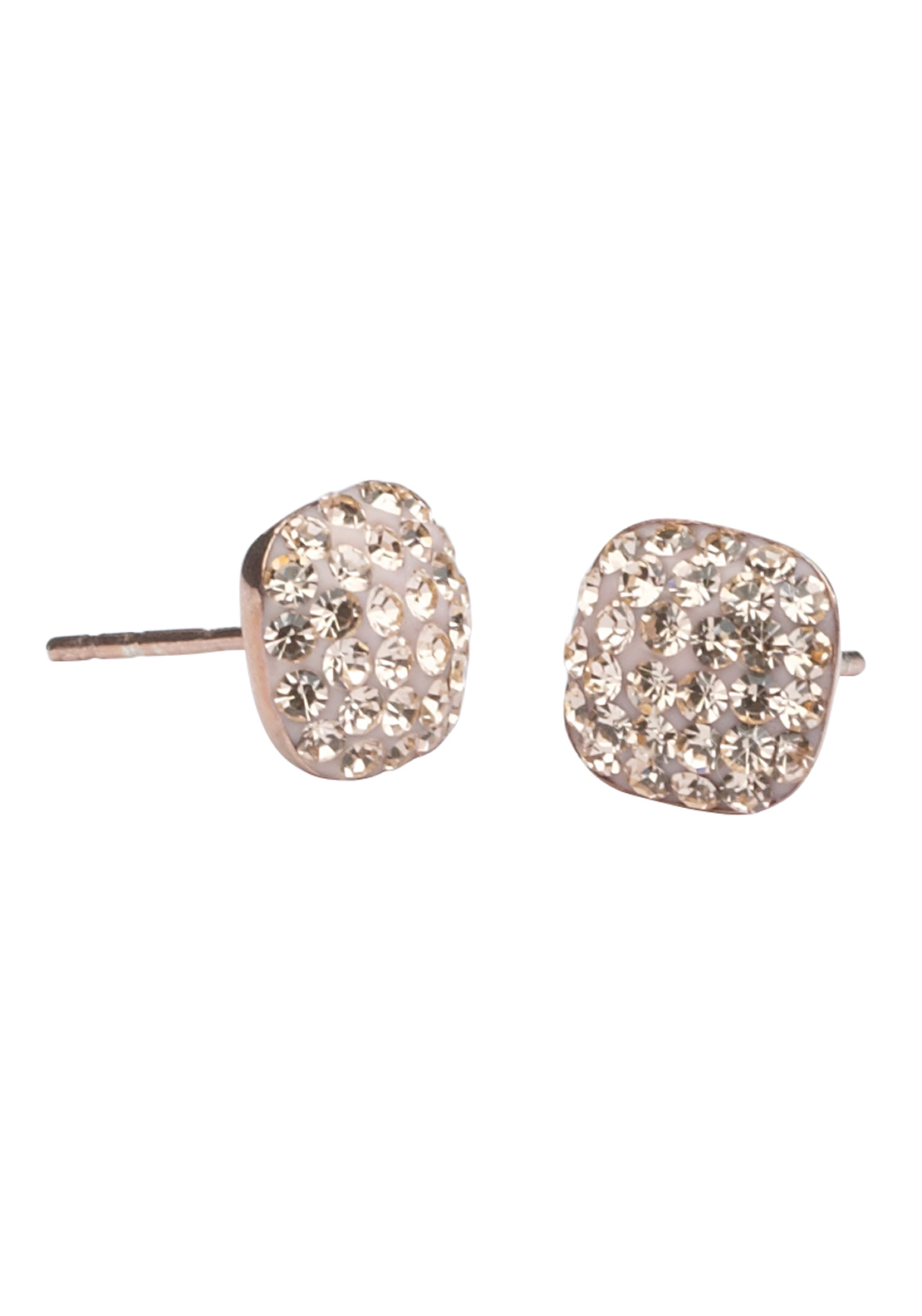 Killarney Crystal Venus Rose Gold Plated Square Earrings
