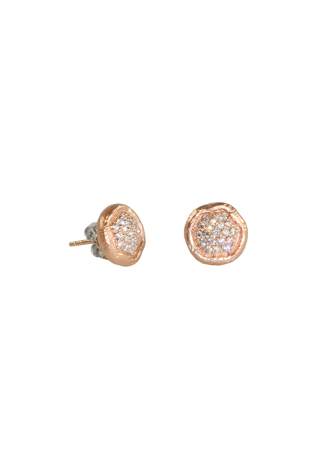 Killarney Crystal Bijou Rose Gold Plated Studded Earrings