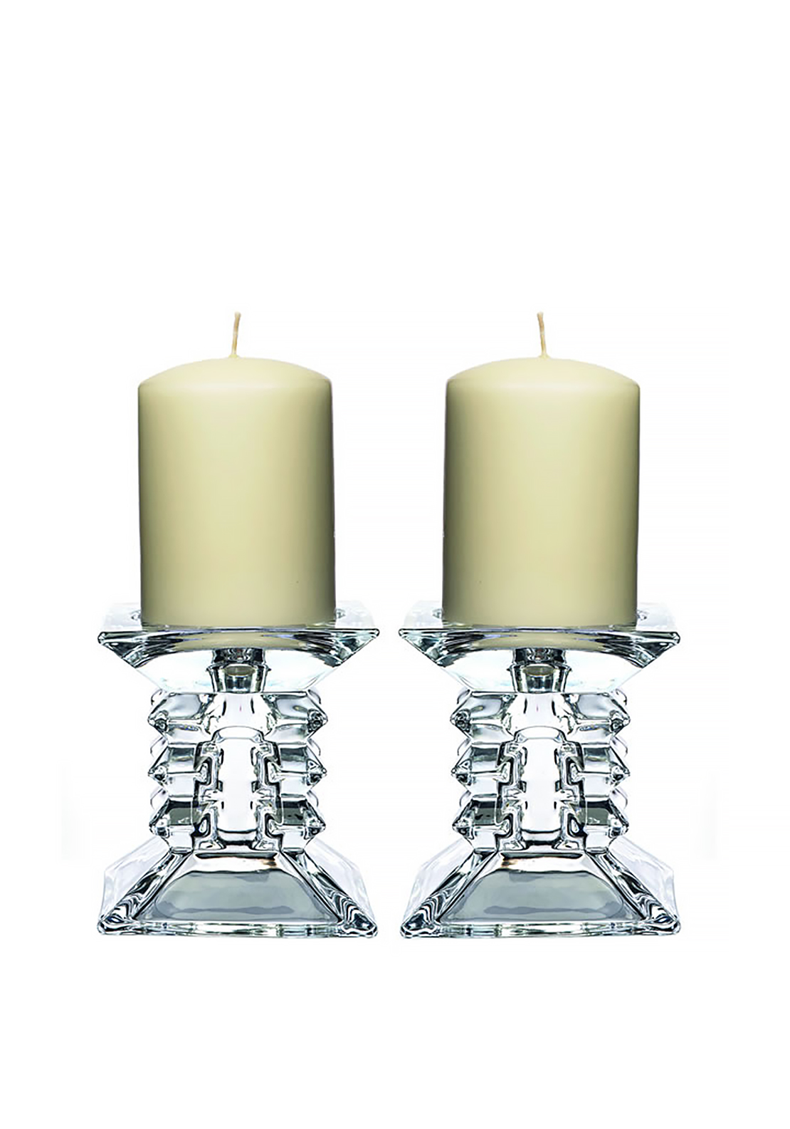 Newgrange Living Pair Zorro Pillar Candle Holders, Glass