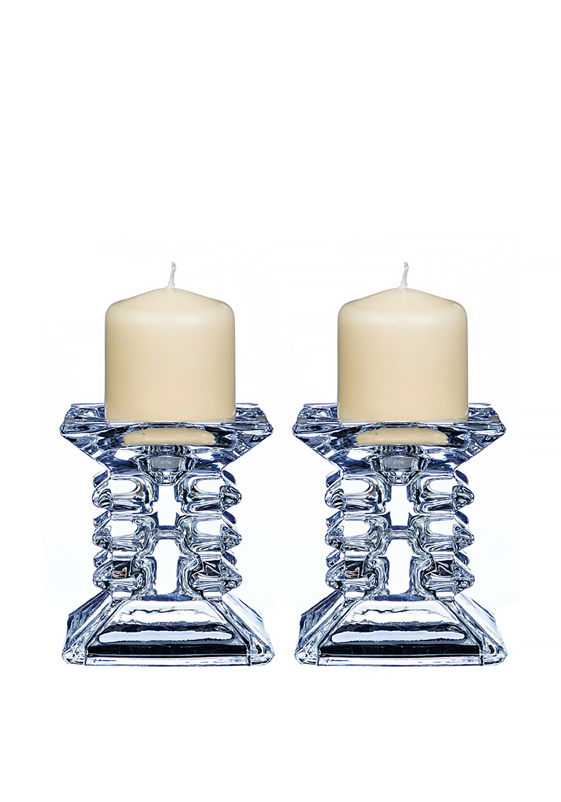 Newgrange Living Pair Ziggy Pillar Candle Holders, Glass