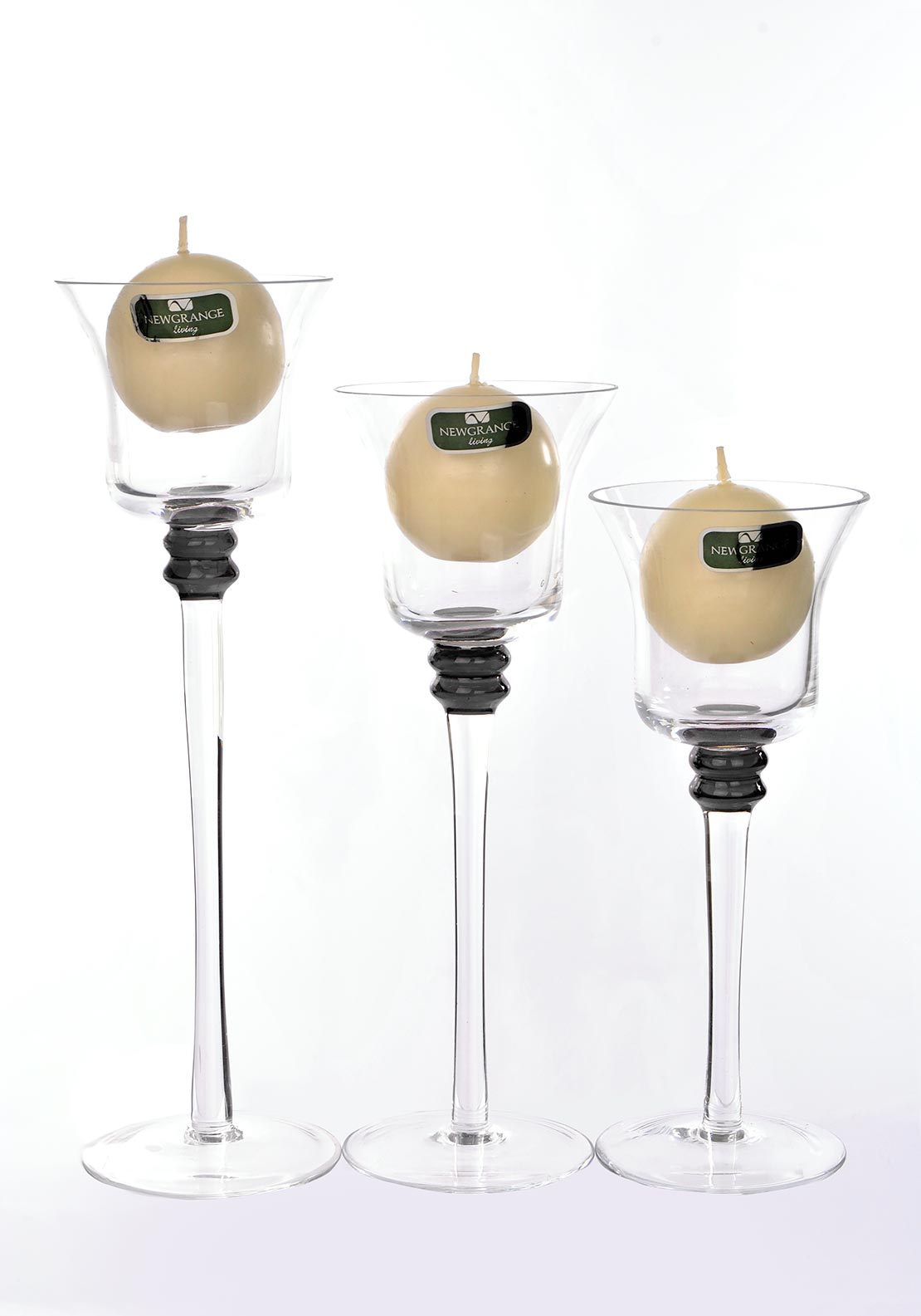 Newgrange Beacon Ball Candleholders Set of 3, Black
