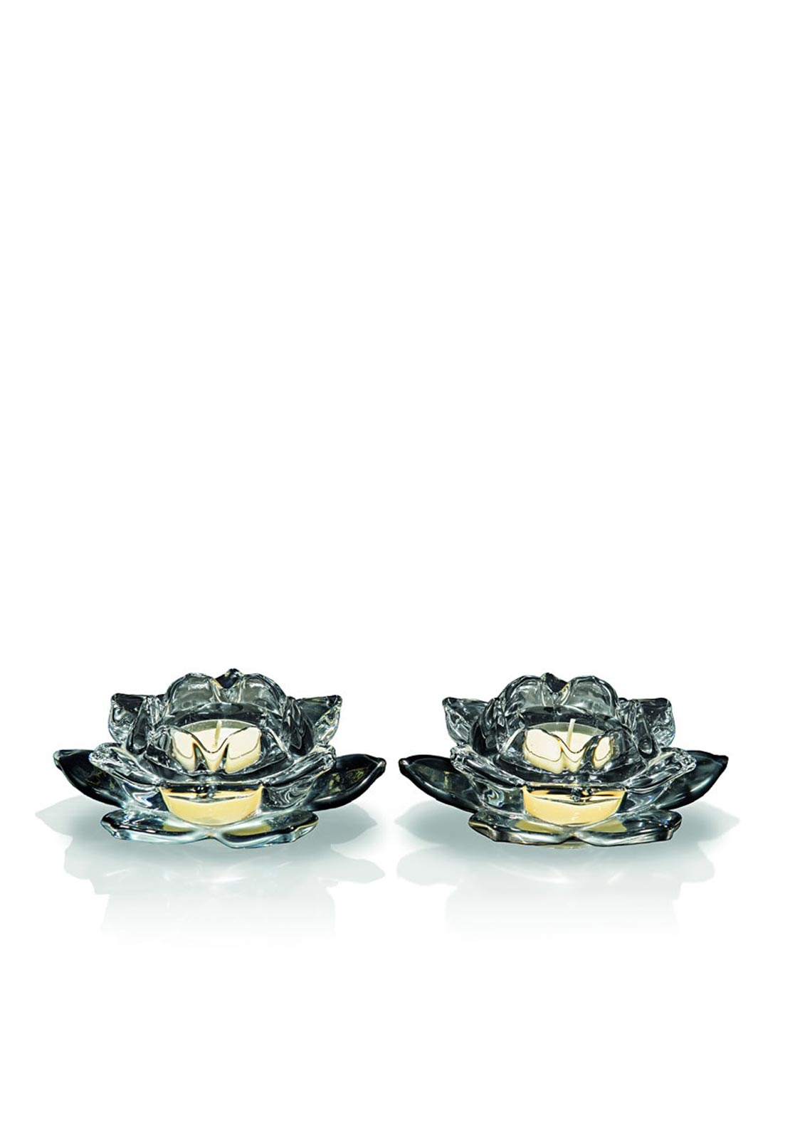Newgrange Living Lotus Tea Light Holder Set of 2, Black