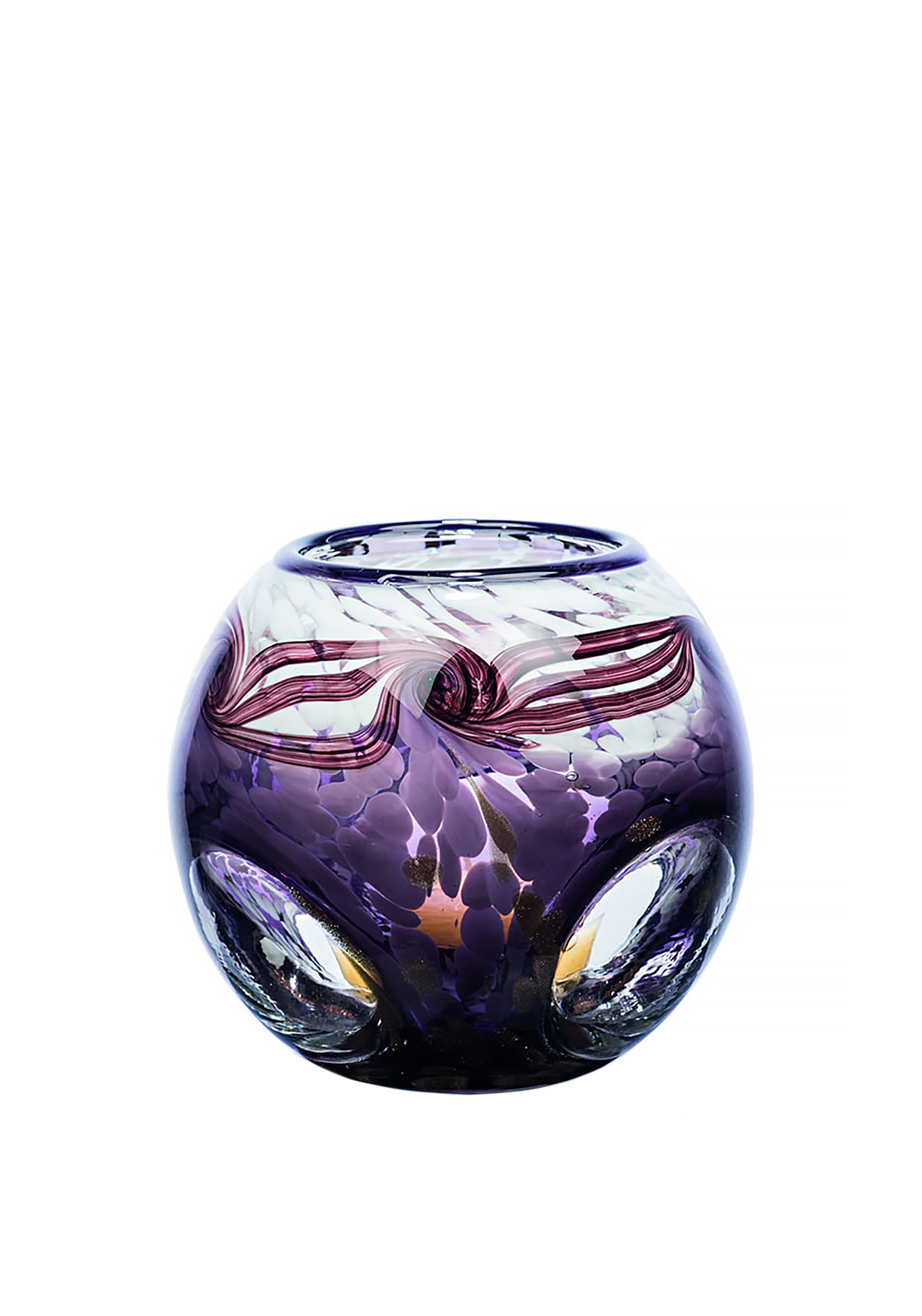 Newgrange Living Purple Snowcap Tea Light Candle Bowl, White & Purple