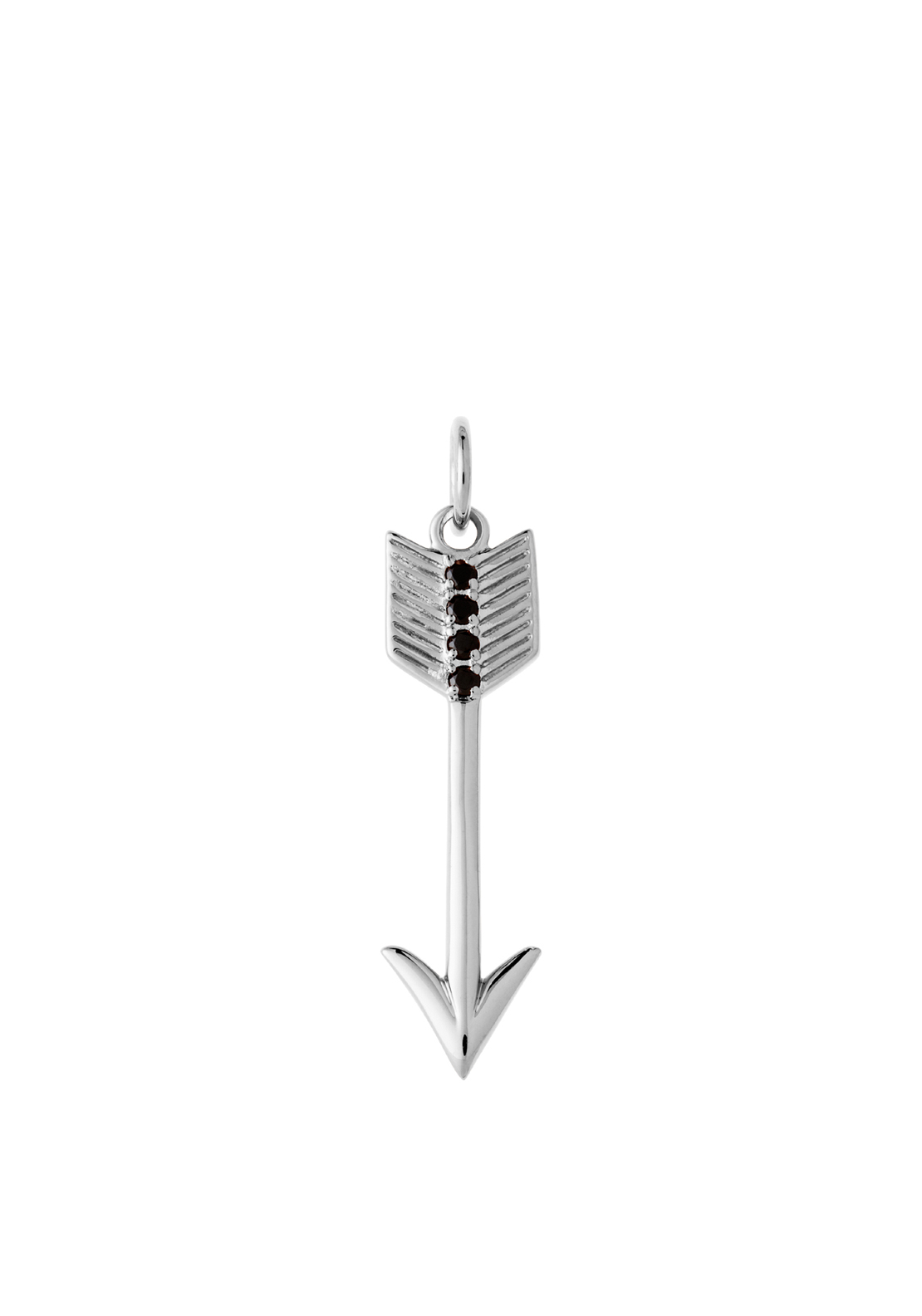 Kirstin Ash Arrow Black Spinel, Silver Plated