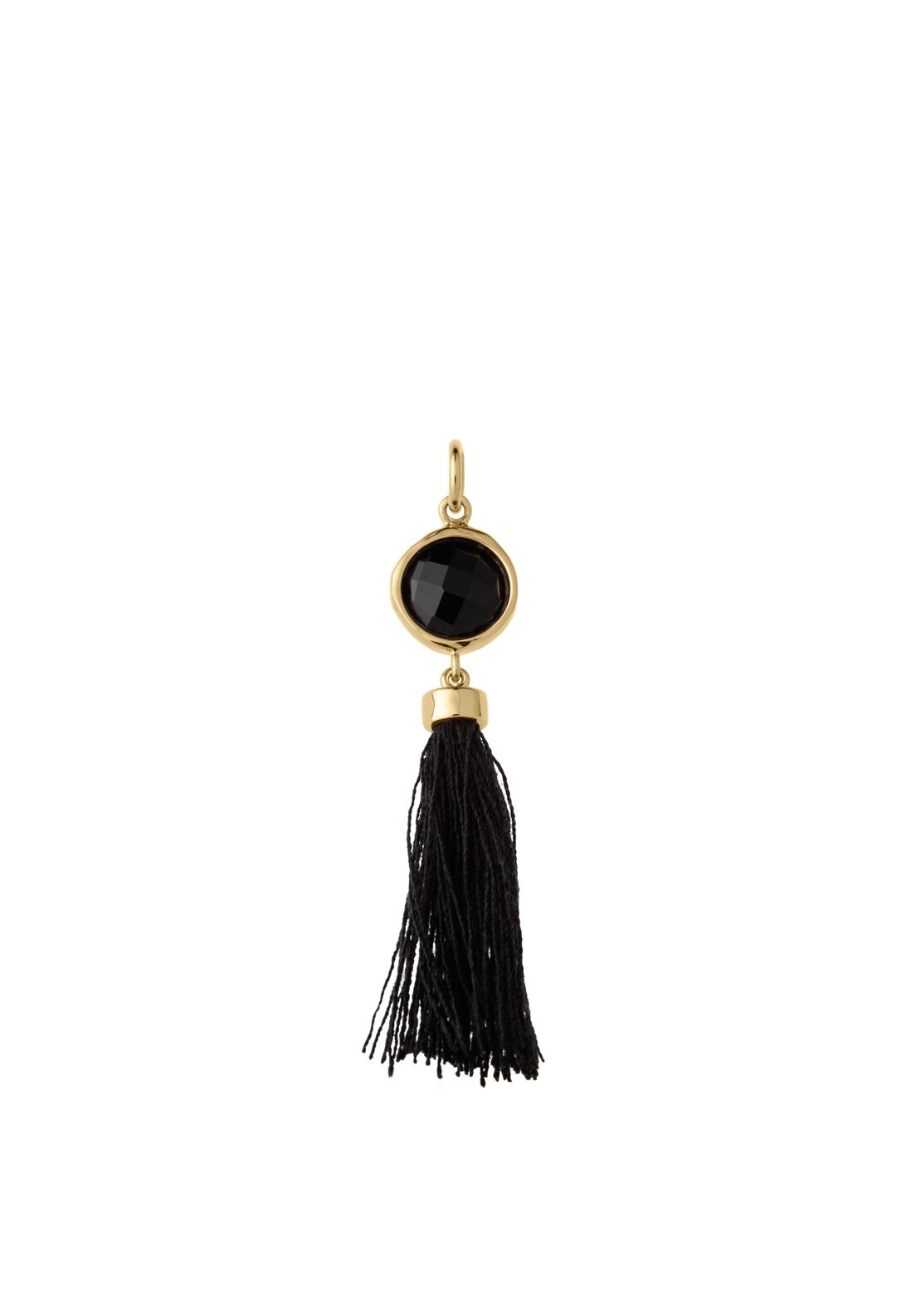 Kirstin Ash Black Cord Tassel Necklace Charm, Gold Plated
