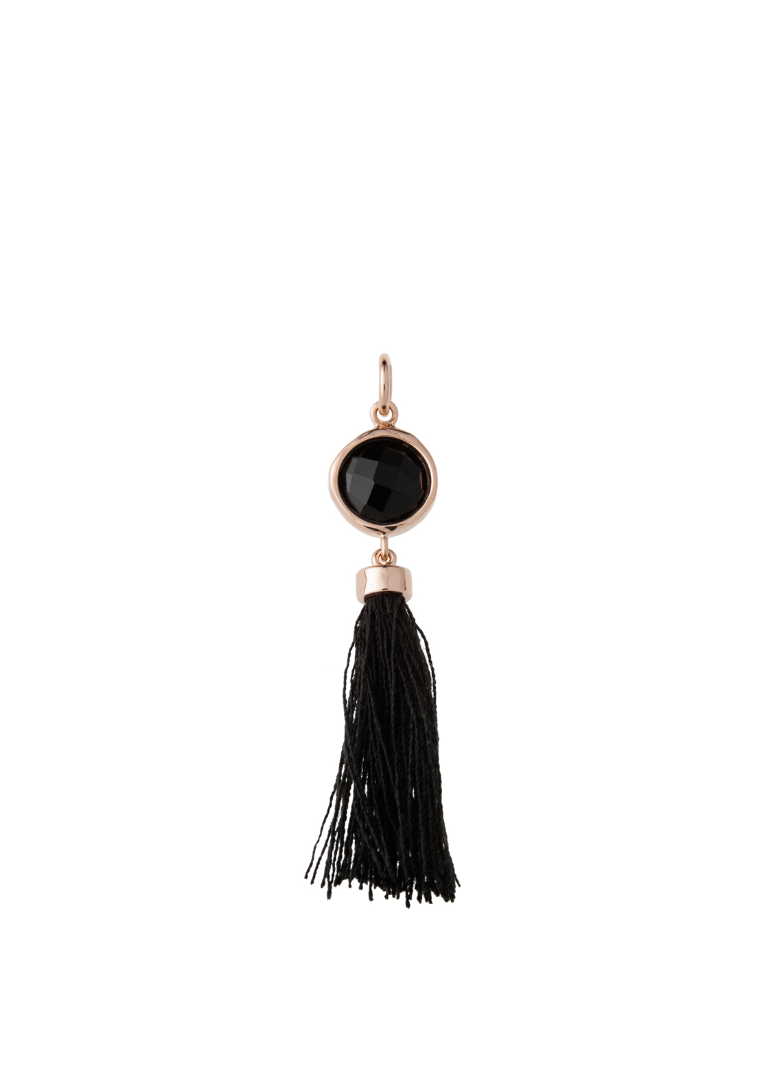 Kirstin Ash Black Cord Tassle Necklace Charm, Rose-Gold Plated