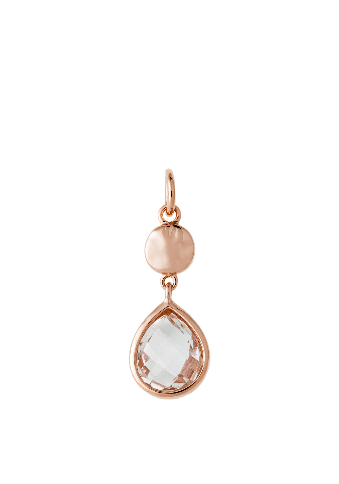 Kirstin Ash Clear Quartz Crystal Teardrop Necklace Charm, Rose-Gold Plated