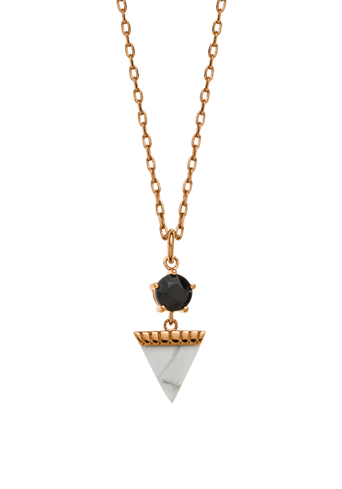 Kirstin Ash Triangle Drop Howlite Necklace Charm, Rose-Gold Plated
