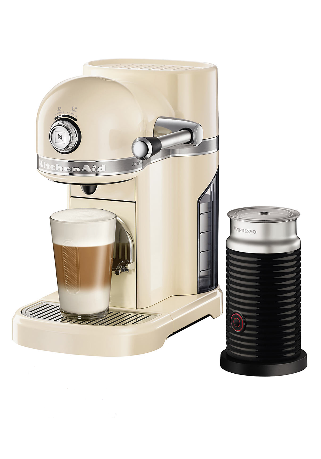 Nespresso KitchenAid Coffee Machine with Aeroccino, Almond Cream