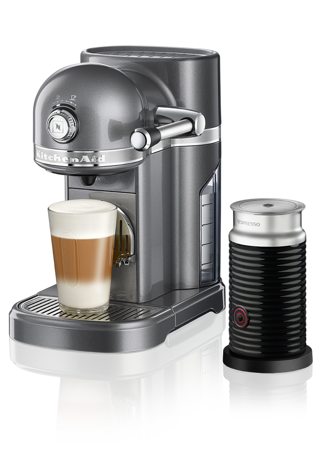 Nespresso KitchenAid Coffee Machine with Aeroccino, Medallion Silver