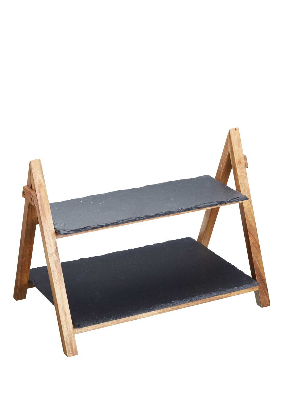 Masterclass 2 Tier Serving Stand in Acacia & Slate