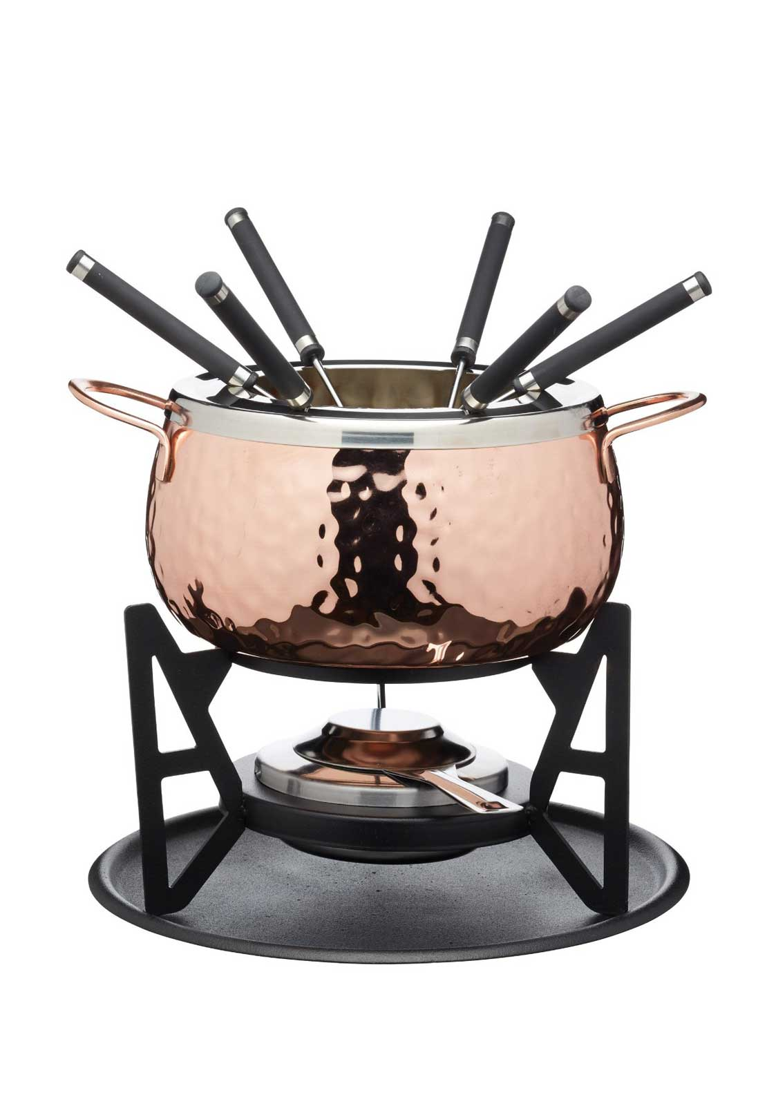 Masterclass Hammered Copper Fondue Set