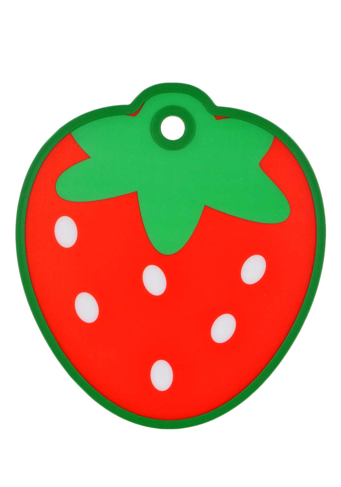 Kitchen Craft Strawberry Shaped Cut & Serve Reversible Chopping Board, Red
