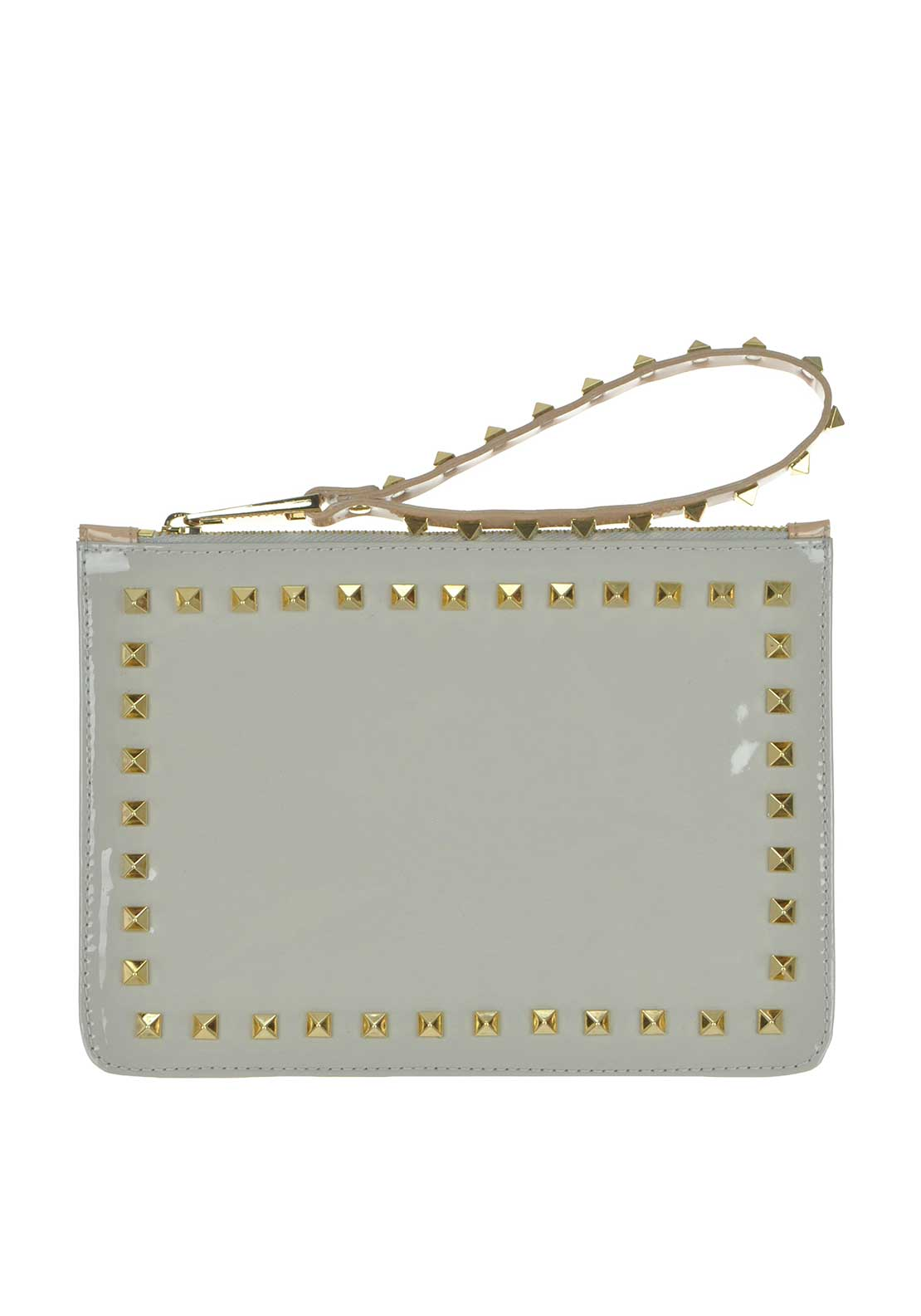 McElhinney's by Lodi Valver Leather Patent Studded Clutch Bag, Grey and Nude