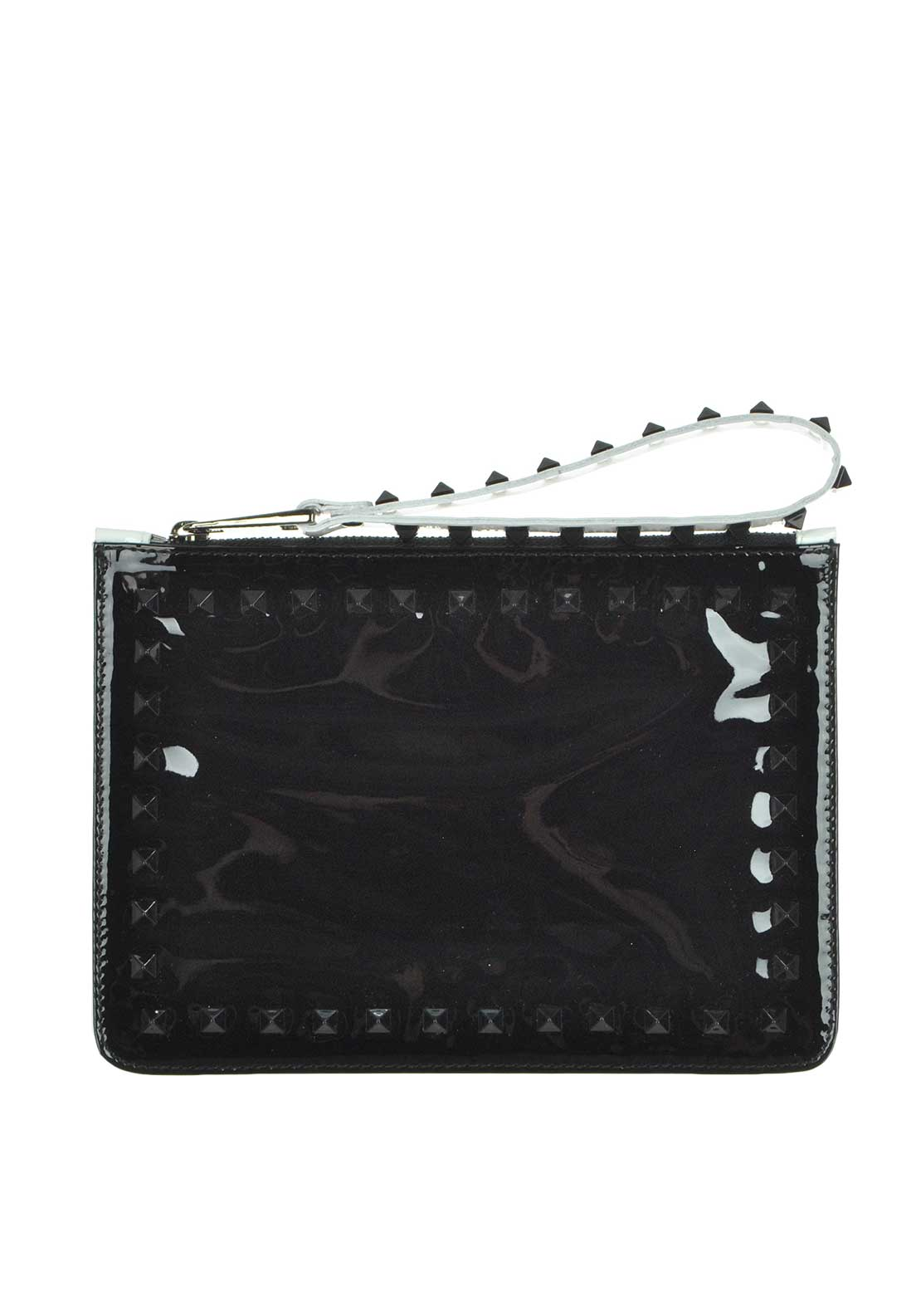 McElhinney's by Lodi Reich Leather Patent Studded Clutch Bag, Black and White