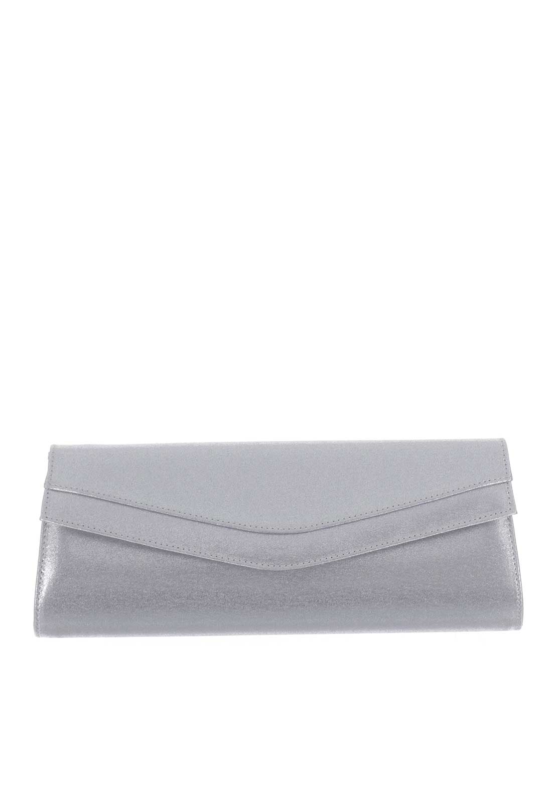 Ana Roman Satin Clutch Bag, Silver