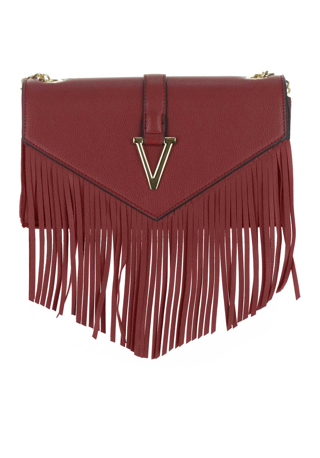 Boutique Fringed Crossbody Bag, Dark Red