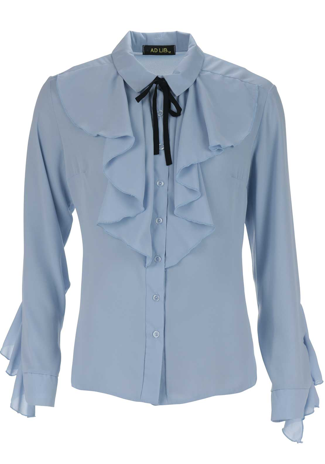 Boutique Frilled Pussybow Blouse, Blue