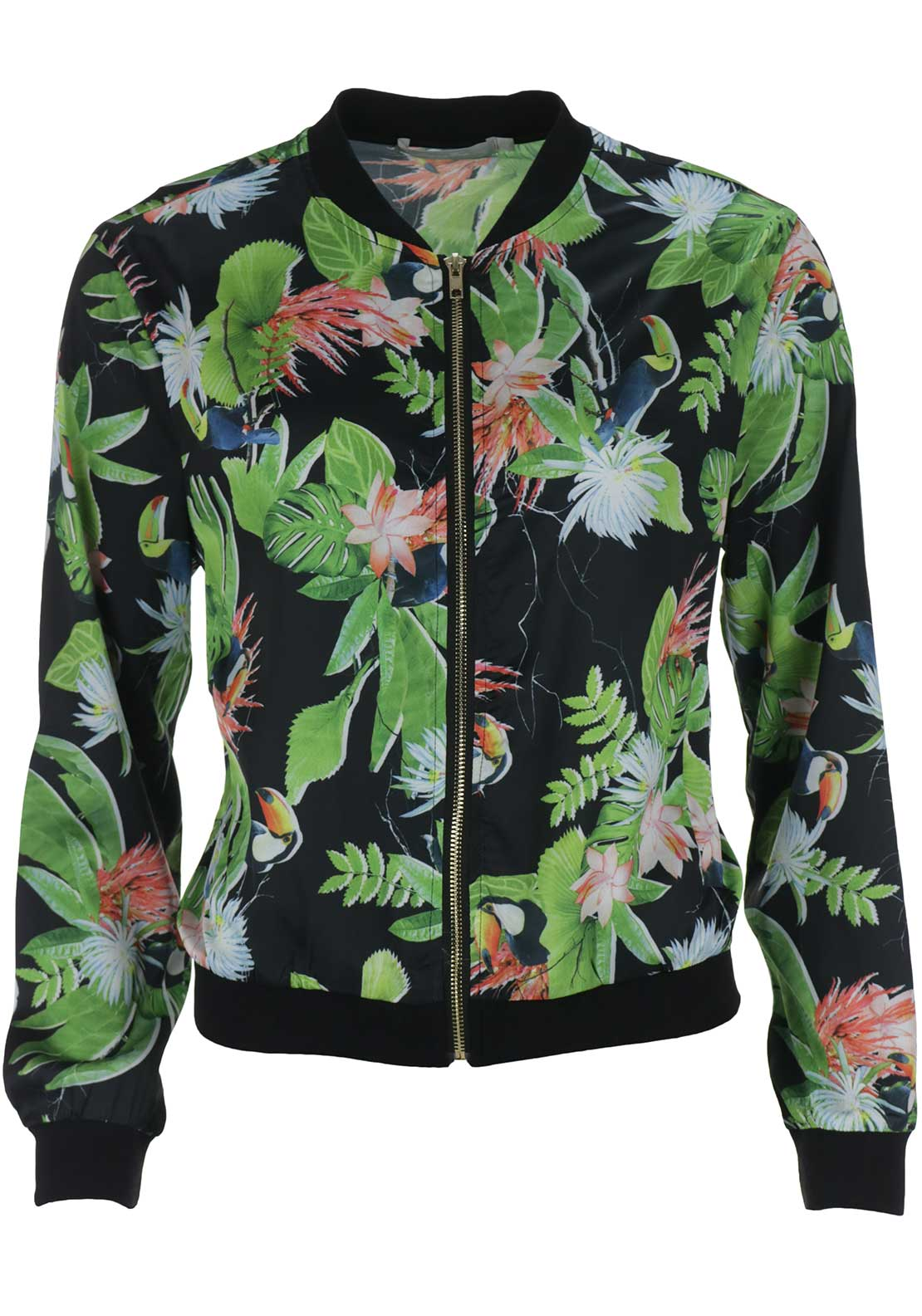 Boutique Tropical Silky Bomber Jacket, Black