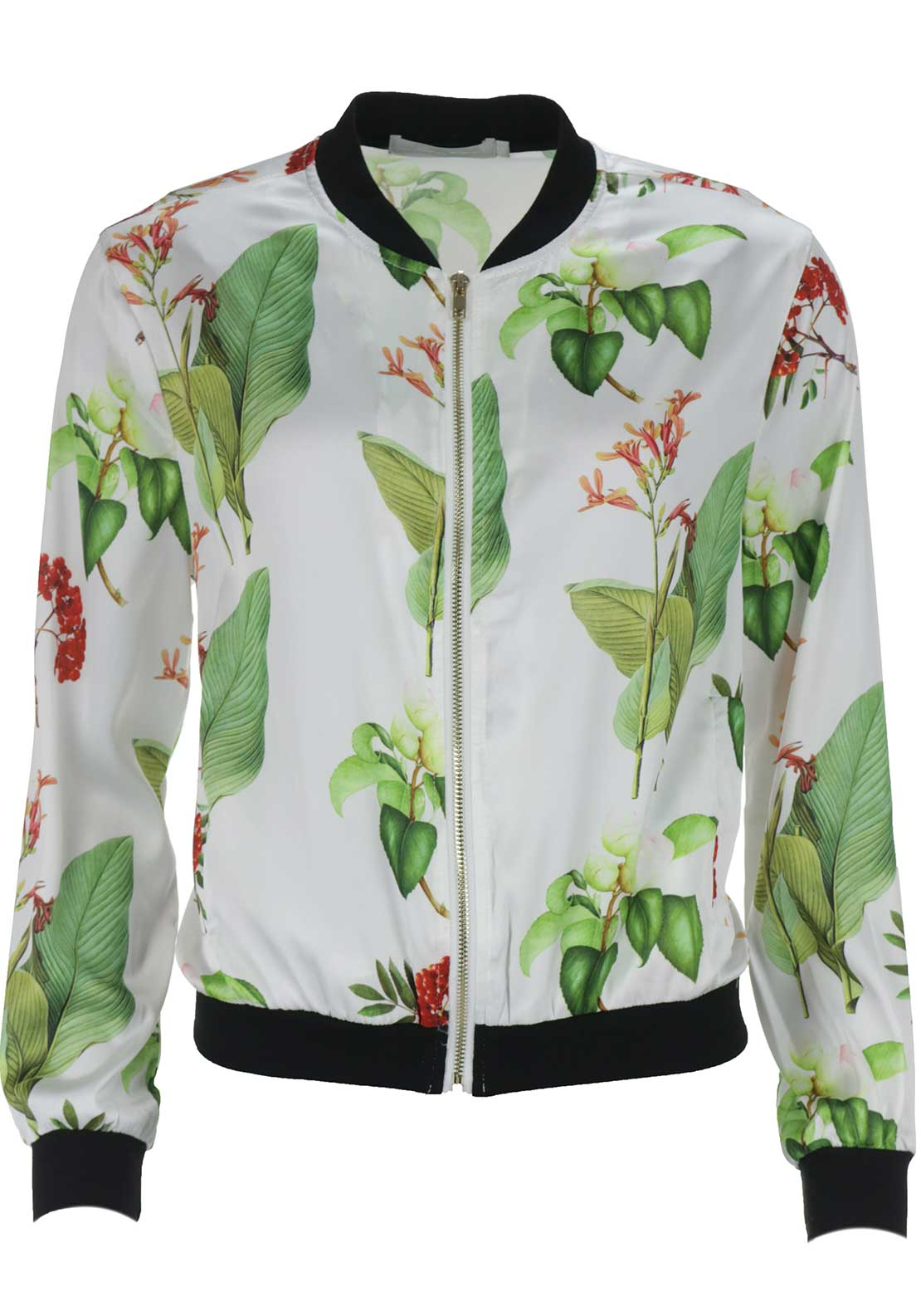 Boutique Tropical Silky Bomber Jacket, White