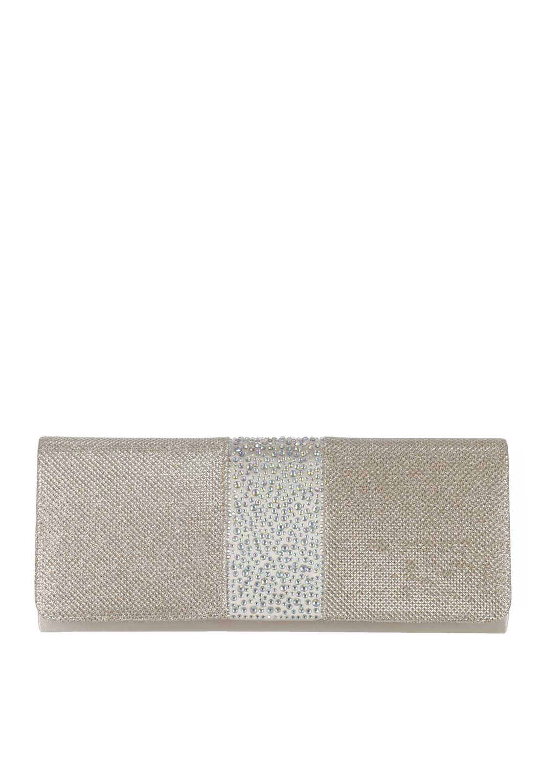 Glamour Metallic Gem Clutch Bag, Nude