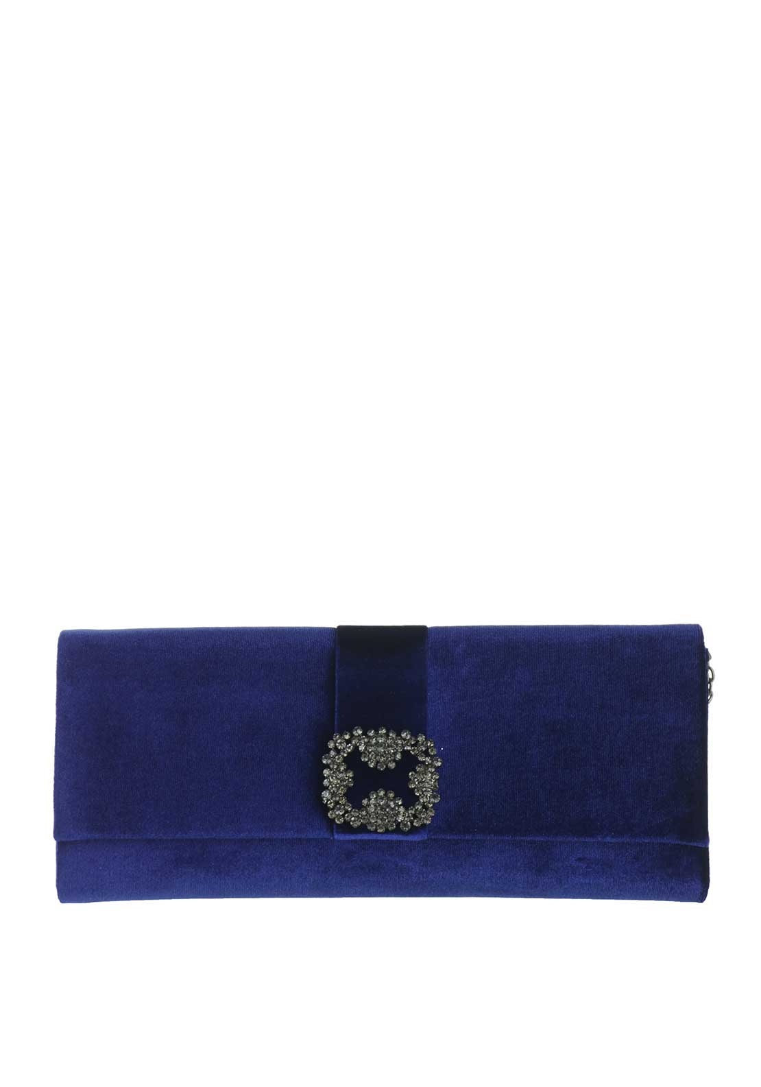 Glamour Velvet Embellished Clutch Bag, Blue