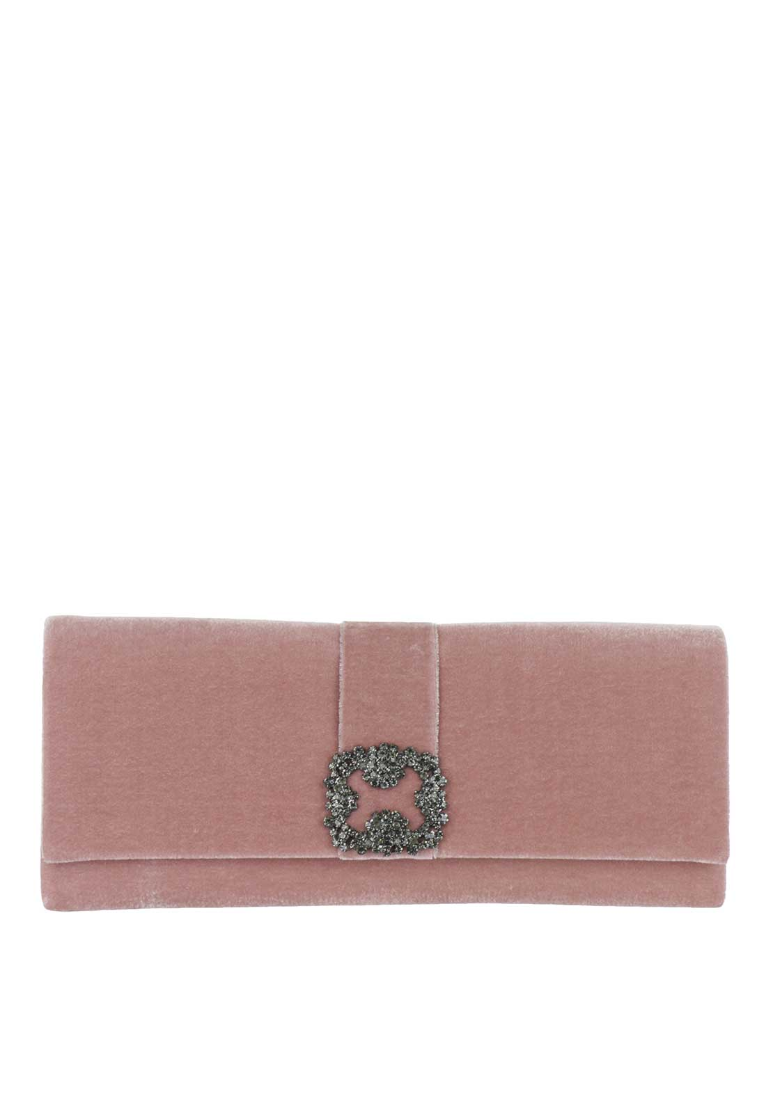 Glamour Velvet Embellished Clutch Bag, Pink