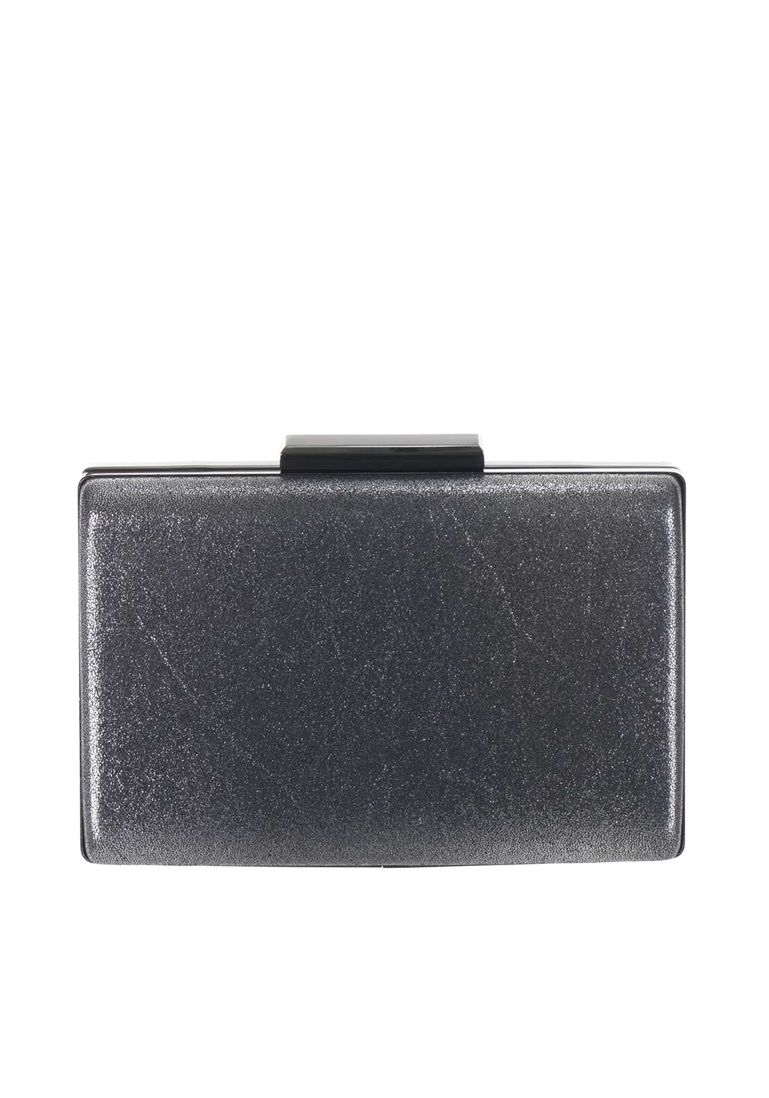 Boutique Shimmer Metallic Box Clutch Bag, Grey