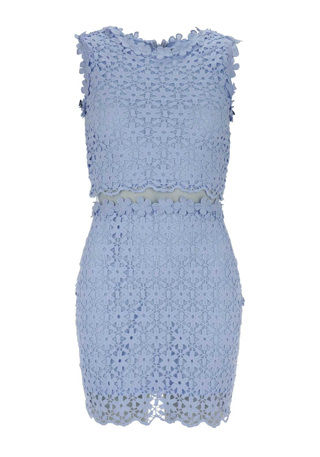 Boutique Crochet Overlay Mesh Panel Dress, Blue