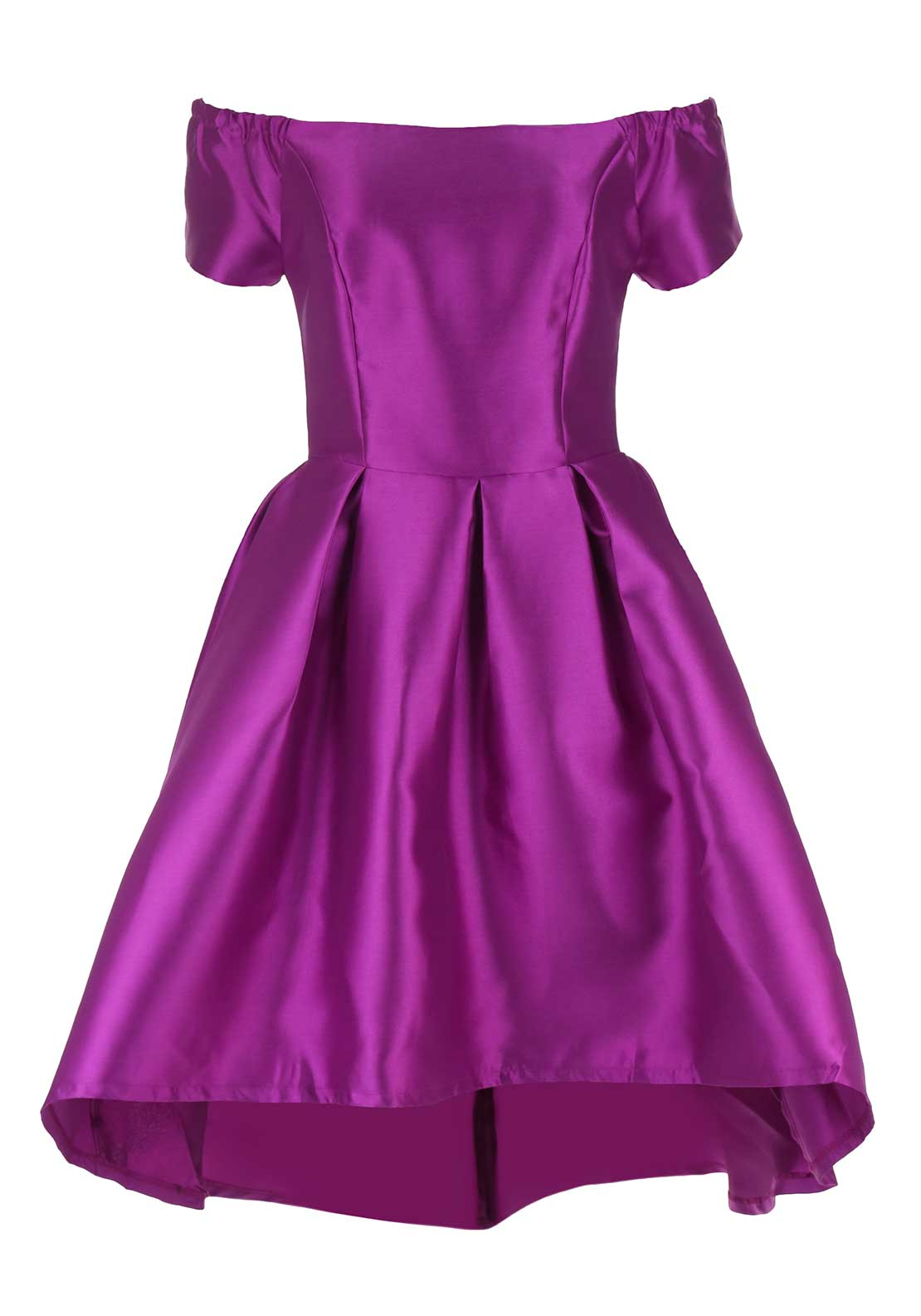 Boutique Satin Bardot Skater Dress, Pink