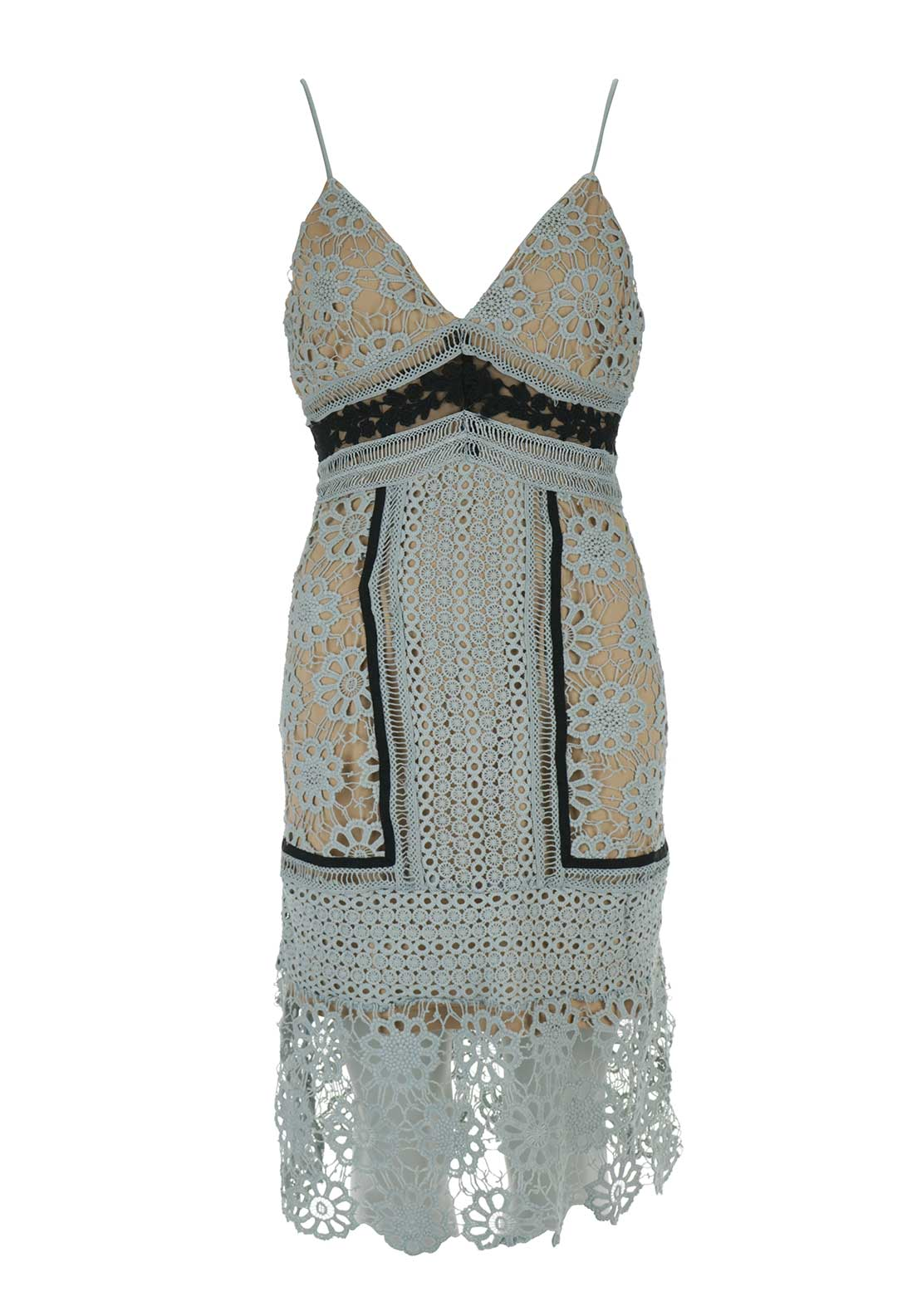 Boutique Crochet Strappy Dress, Grey