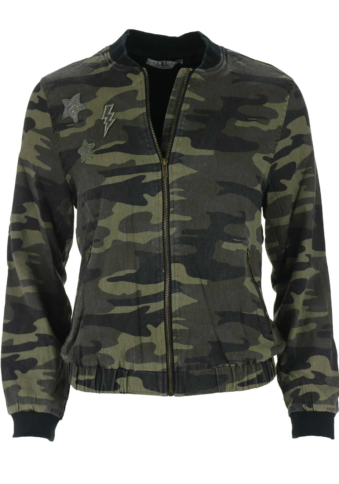 Boutique Camouflage Bomber Jacket, Green