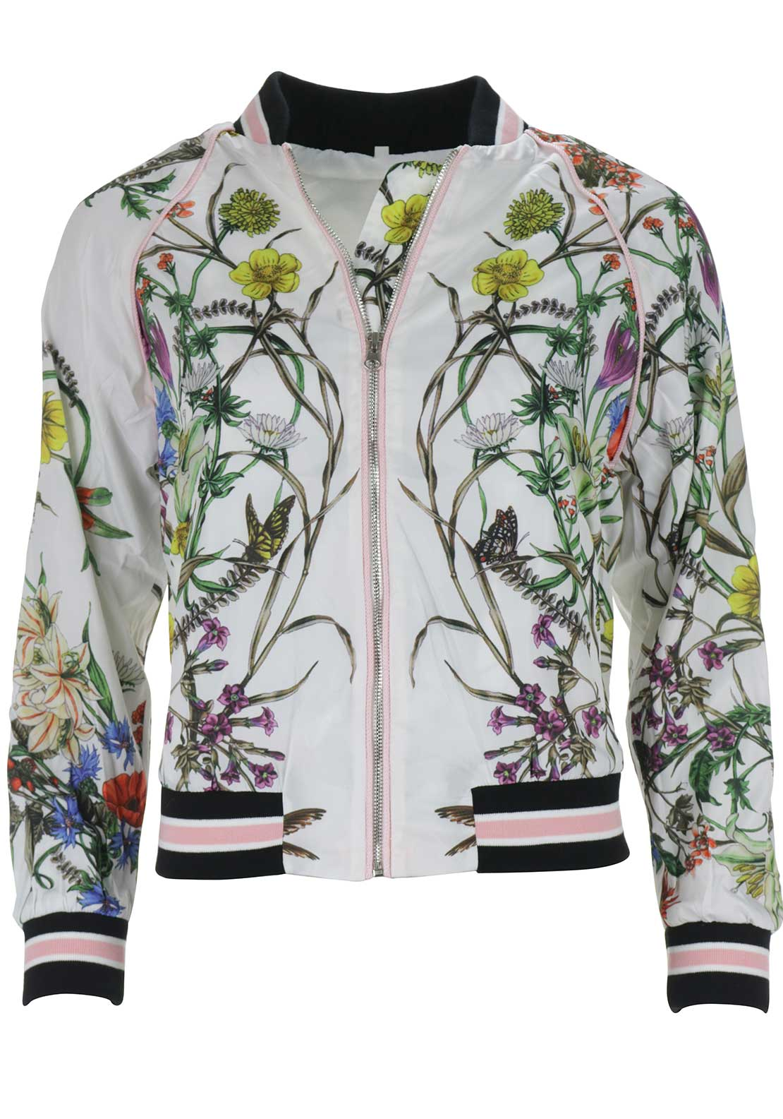 Boutique Floral Bomber Jacket, White