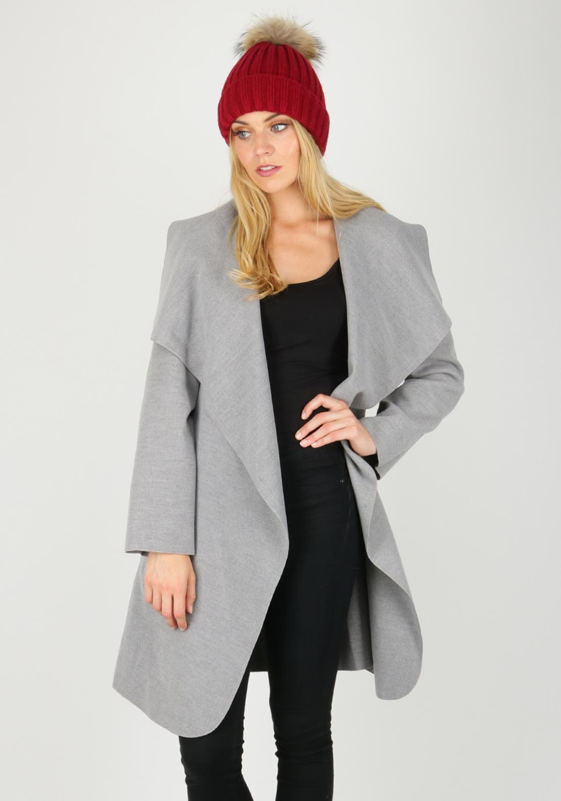 Boutique Wrap Over One Size Coat, Grey