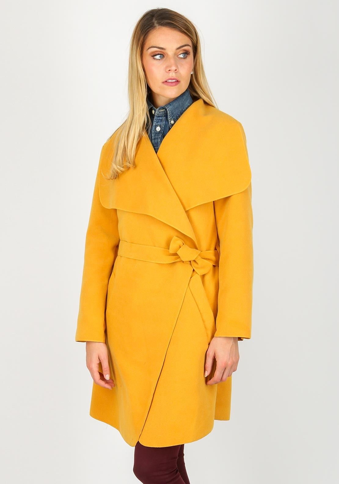 Boutique Wrap Over One Size Coat, Mustard