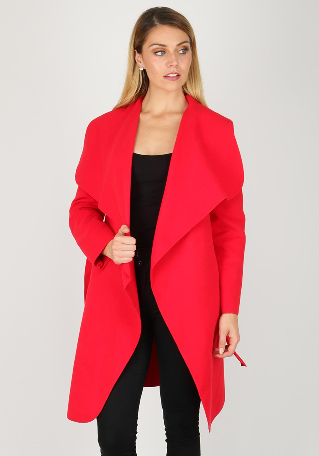 Boutique Wrap Over One Size Coat, Red