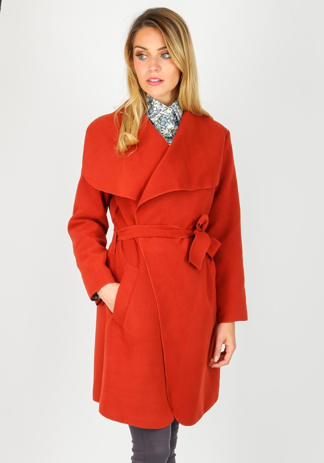 Boutique Wrap Over One Size Coat, Rust