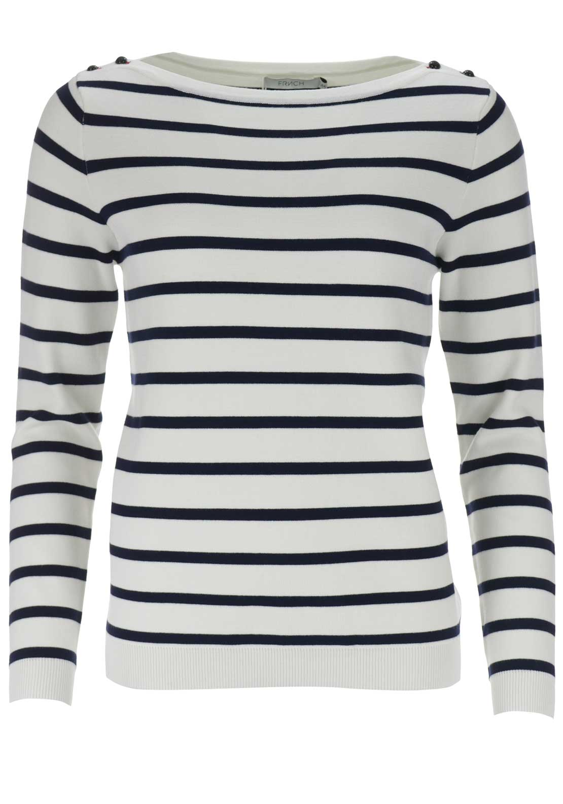 FRNCH Striped Knit Jumper, White