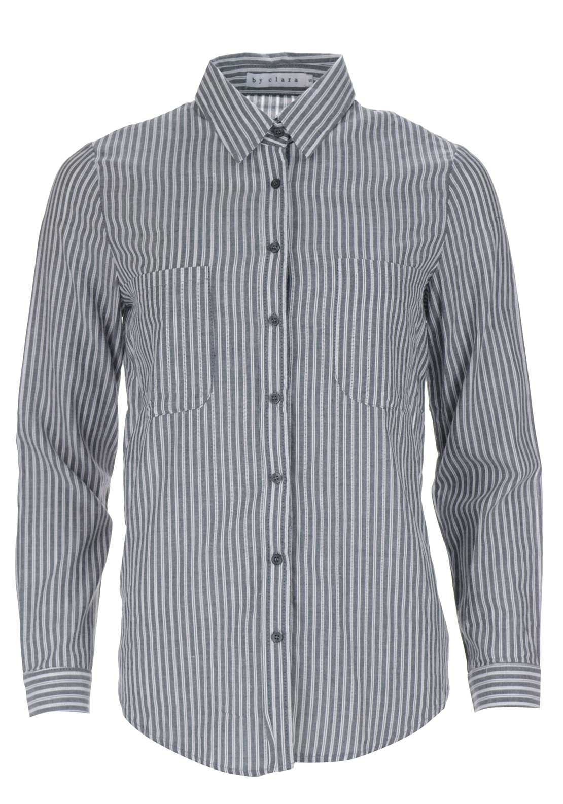 Boutique Striped Cotton Shirt, Grey