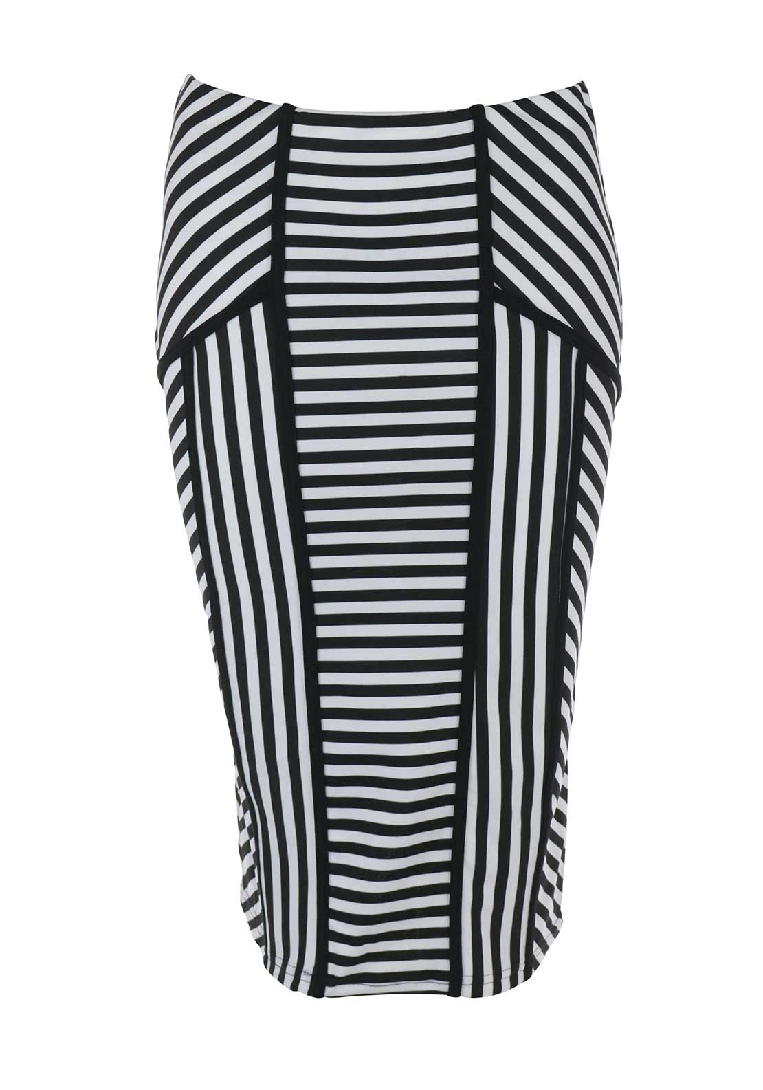 Boutique Striped Bodycon Midi Skirt, Black