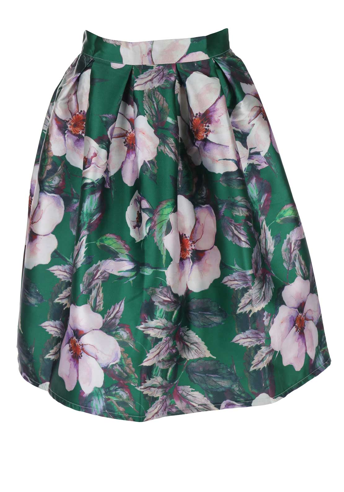 Boutique Satin Floral Skater Skirt, Green