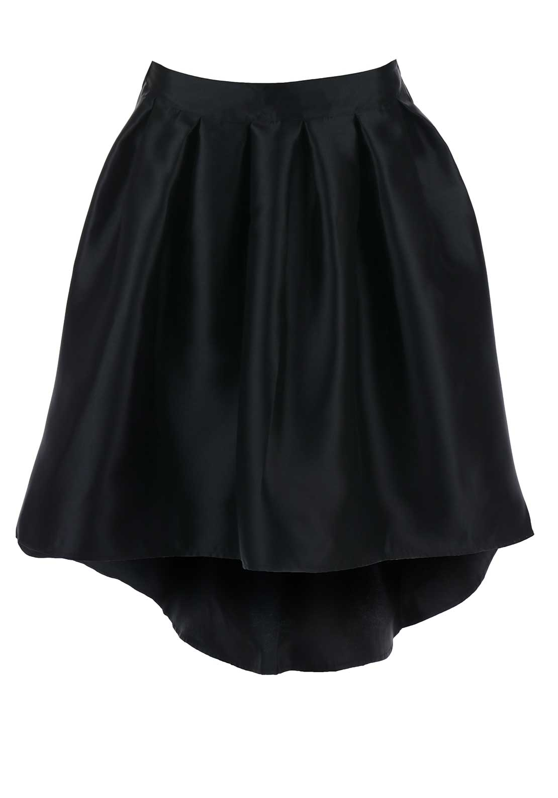 Boutique Satin Dipped Hem Skater Skirt, Black