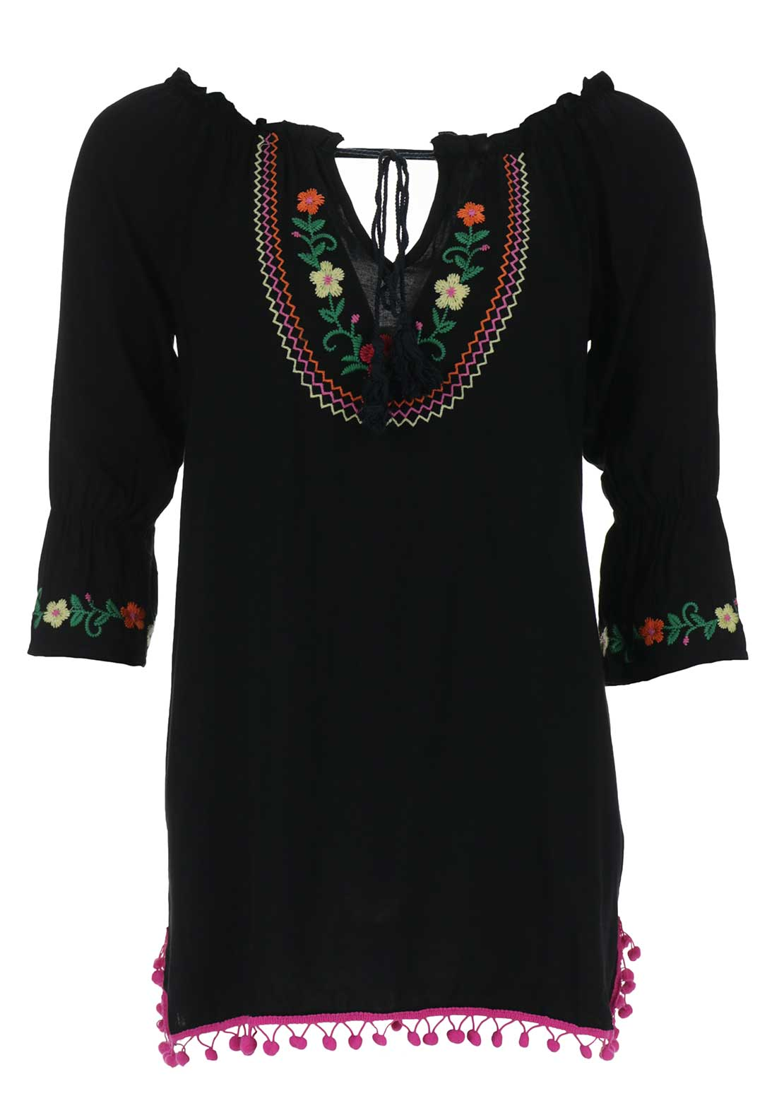 Boutique Flower Embossed Tunic Top, Black