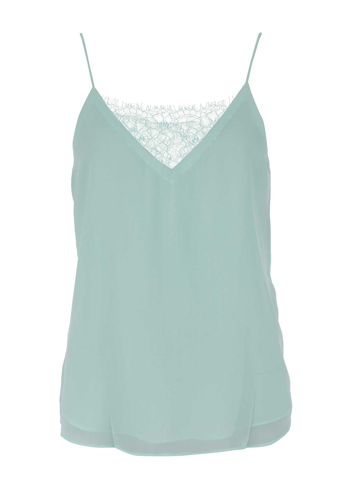 Boutique Lace Insert Strappy Top, Mint Green