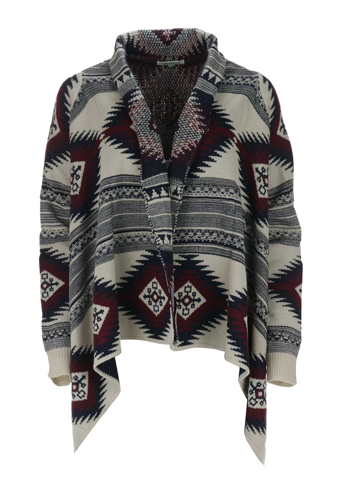 Boutique Aztec Waterfall Cardigan, Wine